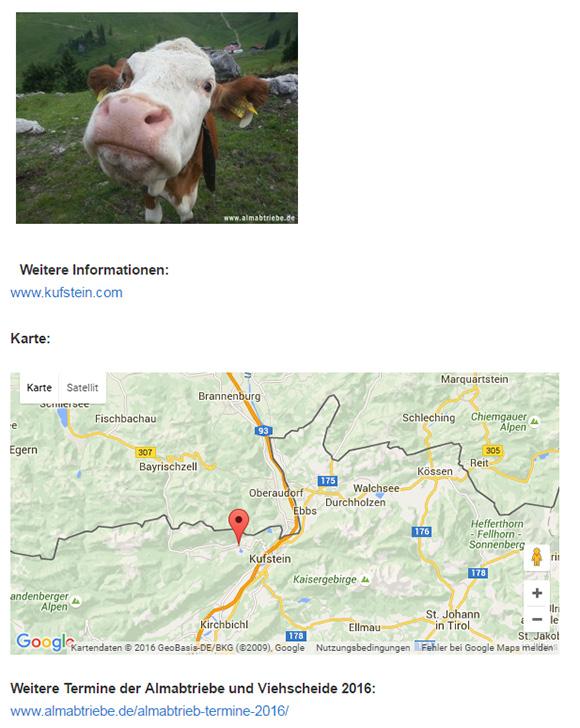Kartenansicht in Google Maps auf den Veranstaltungsseiten von Almabtriebe.de