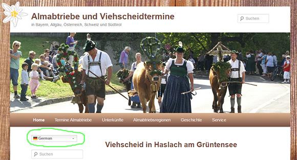 Sprachauswahl in Almabtriebe.de in mehreren Sprachen verfügbar
