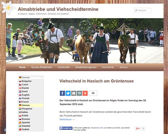 Sprachauswahl Ausgeklappt in Almabtriebe.de in mehreren Sprachen verfügbar
