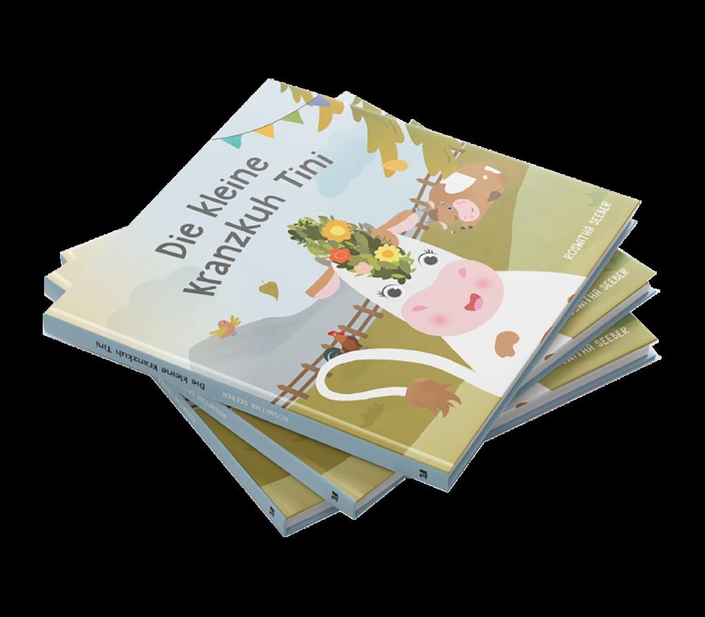 Die kleine Kranzkuh Tini - Bücherstapel